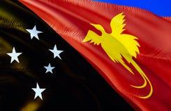Papua-Neu-Guinea Flagge wellenartig bewegendes Design der Flagge 3D Das nationale Sonderzeichen von Papua-Neu-Guinea, Wiedergabe  stockfotos