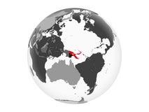 Papua-Neu-Guinea mit Flagge auf der Kugel lokalisiert lizenzfreie abbildung