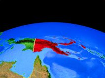 Papua-Neu-Guinea vom Raum auf Erde stock abbildung