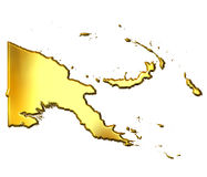 Papua New Guinea 3d Golden Map. Isolated in white Royalty Free Stock Photo