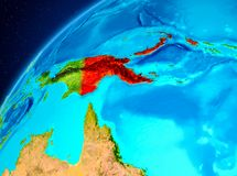 Papua New Guinea on Earth from space. Orbit view of Papua New Guinea highlighted in red on planet Earth. 3D illustration. Elements of this image furnished by Stock Images