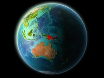 Papua New Guinea in the evening. Papua New Guinea from orbit of planet Earth at night with highly detailed surface textures. 3D illustration. Elements of this Stock Photos