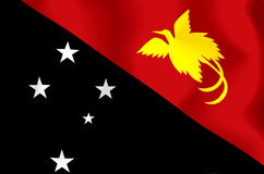 Papua New Guinea Flag. Wavy and realistic Papua New Guinea Flag stock illustration