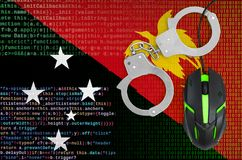 Papua New Guinea flag and handcuffed computer mouse. Combating computer crime, hackers and piracy. Papua New Guinea flag and handcuffed modern backlit computer stock illustration