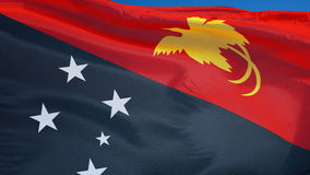 Papua New Guinea flag in slow motion seamlessly looped with alpha