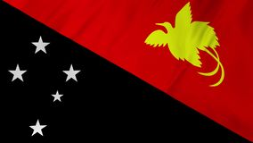 Papua New Guinea Flag waving in wind animation 2 in 1. Papua New Guinea Flag waving in wind animation realistic fabric texture stock video footage