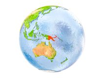Papua New Guinea on globe isolated. Papua New Guinea highlighted in red on model of Earth. 3D illustration isolated on white background. Elements of this image Stock Photography