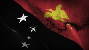 Papua New Guinea grunge dirty flag waving on wind. Papua New Guinean background fullscreen grease flag blowing on wind. Realistic filth fabric texture on windy Royalty Free Stock Image