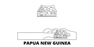 Papua New Guinea line travel skyline set. Papua New Guinea outline city vector illustration, symbol, travel sights vector illustration