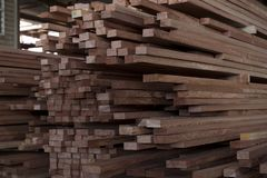 Papua New Guinea Lumber Yard. Wooden planks being treated and manufactured in papua new guinea royalty free stock images