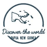 Papua New Guinea Map Outline. Vintage Discover the World Rubber Stamp with Papua New Guinea Map. Hipster Style Nautical Rubber Stamp, with Round Rope Border Royalty Free Stock Image