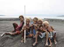 Papua New Guinea People. Children of Papua New Guinea , Rabaul Caldera stock photo
