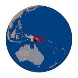 Papua New Guinea on political globe Stock Photography