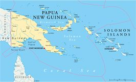 Papua New Guinea Political Map Stock Photography