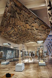 Papua New Guinea shileds hung from roof in Metropolitan Museum of Art Stock Image
