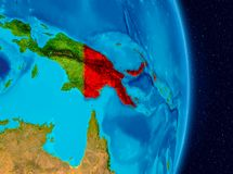 Papua New Guinea from space. Country of Papua New Guinea in red on planet Earth. 3D illustration. Elements of this image furnished by NASA stock photography