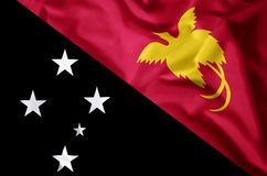 Papua New Guinea. Stylish waving and closeup flag illustration. Perfect for background or texture purposes stock illustration