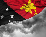 Papua New Guinea waving flag on a bad day Royalty Free Stock Image