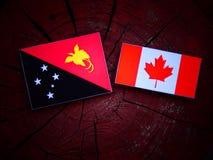 Papua - nowa gwinei flaga z kanadyjczyk flaga na drzewnym fiszorku odizolowywającym obraz royalty free