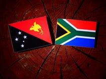 Papua - nowa gwinei flaga z południe - afrykanin flaga na drzewnym fiszorku jest Zdjęcia Stock