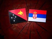 Papua Nya Guinea flagga med den serbiska flaggan på en isolerad trädstubbe Royaltyfri Foto