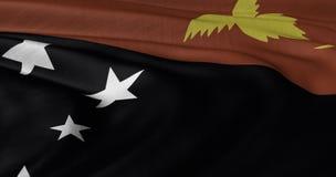 Papua Nya Guinea flagga som fladdrar i ljus bre Royaltyfria Bilder