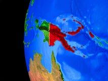 Papua Nya Guinea från utrymme vektor illustrationer