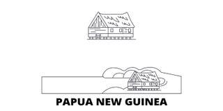 Papua Nya Guinea linje lopphorisontuppsättning Illustration för vektor för Papua Nya Guinea översiktsstad, symbol, loppsikt vektor illustrationer