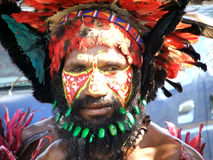 Papua Warrior. GOROKA, PAPUA, NEW GUINEA - SEPTEMBER 16: Papua warrior at Goroka Tribal Festival. Papua New Guinea on September 16, 2011 Stock Image