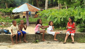 Papuan kids and teens Royalty Free Stock Photos