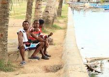 Papuan men posing in Sorong Stock Images