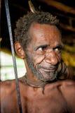 Papuan oldman from Korowai tribe Stock Photos