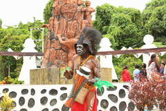 Papuan in Traditional Costume stock photography