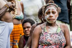 Papuan woman from Asmat tribe Stock Photos