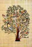 Papyrus. On the Tree Of Life, the birds represent the various stages of human life Stock Images