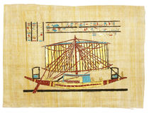 Papyrus 3. Egyptian papyrus with boat drawing Royalty Free Stock Image