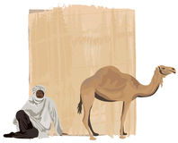 Papyrus Background. With a bedouin and a camel Stock Photo