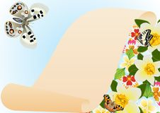 Papyrus, butterflies and flowers Stock Photo