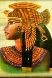 Papyrus Egyptian Queen Cleopatra, a famous woman of antiquity. Cleopatra had the attention of two great Roman generals Julius Caesar and Mark Antony,committed stock photography
