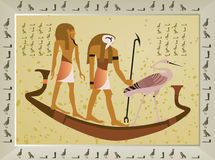 Papyrus with elements of egyptian ancient history. Illustration Stock Photos