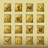 Papyrus finance icons. Vector icon set, papyrus series Stock Photography