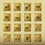 Papyrus love icons Stock Photography