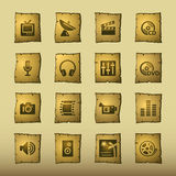 Papyrus media icons. Vector web icons, papyrus series Royalty Free Stock Image