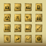 Papyrus medicine icons. Vector web icons, papyrus series Royalty Free Stock Image