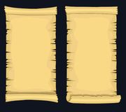Papyrus scrolls, aged blank paper scroll, medieval yellowish manuscript Royalty Free Stock Image