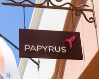 Papyrus Store and Sign Royalty Free Stock Photo