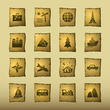 Papyrus travel icons. Vector web icons, papyrus series Royalty Free Stock Image