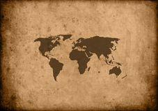 Papyrus world map. Brown background Vector Illustration