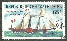 Paquebot Poste Le Pericles. Central African Republic - stamp printed 1984, Multicolor issue of offset printing, Topic Sailing ships, Series Packet Ship Pericles Stock Photo
