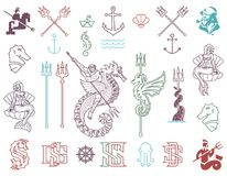 Paquet coloré de mer d'aventure de marina pour tout usage Photos libres de droits